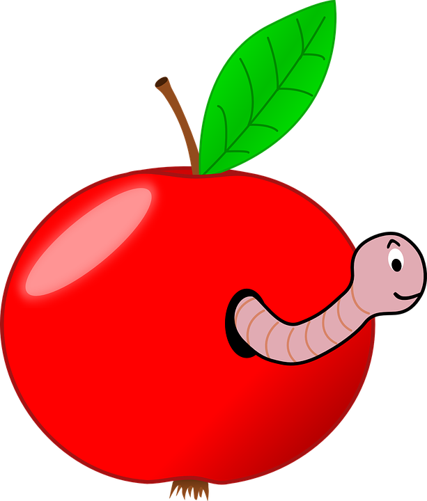 This is a cute picture of an apple with smiling worm.