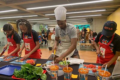 The young chefs cooked alongside Ben Moore and Lonnie Walker IV