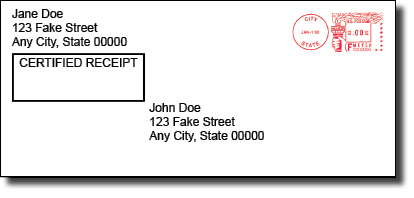 envelope showing certified mail example