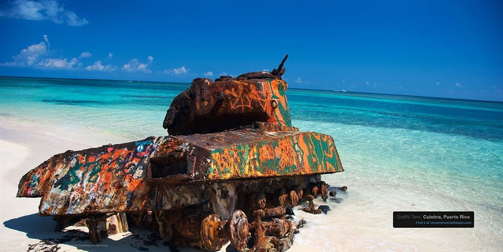 Abandoned tank by the beach