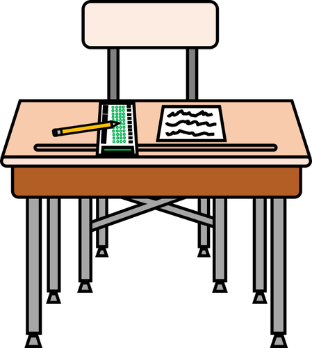 school desk with scantron