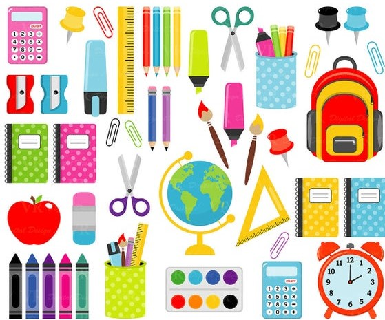 drawing of school supplies