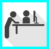 Two stick figures in front of desk