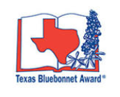 Book with bluebonnet flowers logo