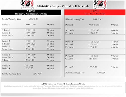 2020 - 2021 Charger Virtual Bell Schedule